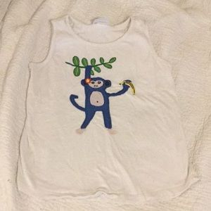 Girls tank top with monkey appliqué